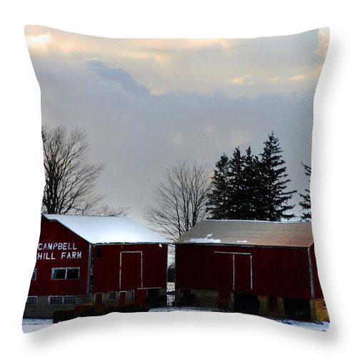 Canada Throw Pillow featuring the photograph Canadian Snowy Farm by Anthony Jones