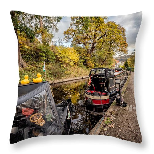 Autumnal Throw Pillow featuring the photograph Canal Ducks by Adrian Evans