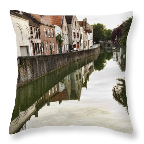 Canal Reflection Throw Pillow featuring the photograph Canal Reflection by Phyllis Taylor