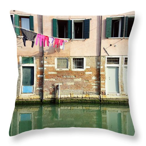 Ancient Throw Pillow featuring the photograph Canal Reflections by Valentino Visentini
