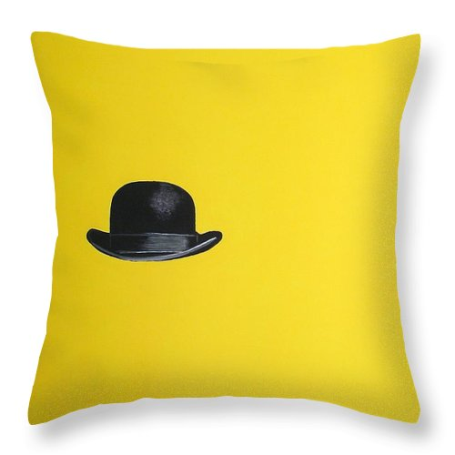 Bowler Hat Throw Pillow featuring the painting Canary Yellow by Venus