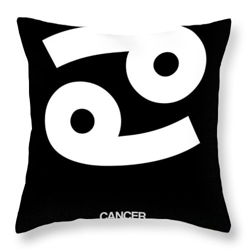 Cancer Throw Pillow featuring the digital art Cancer Zodiac Sign White by Naxart Studio