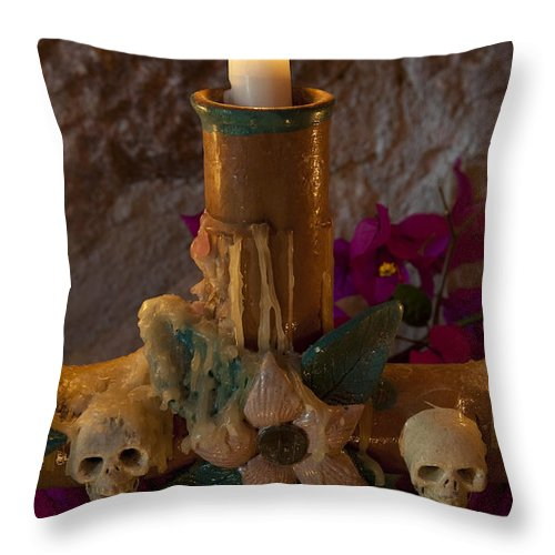 San Miguel De Allende Throw Pillow featuring the photograph Candle On Day Of Dead Altar by John Shaw