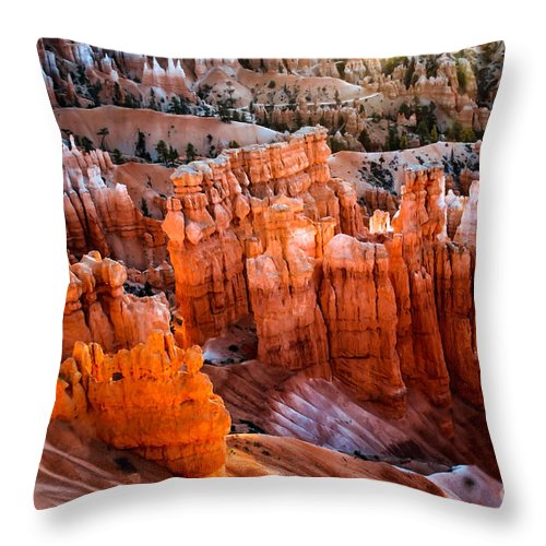 Rock Formations Throw Pillow featuring the photograph Candlestick Hoodoos by Robert Bales