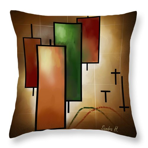 Japanes Throw Pillow featuring the painting Candlsticks by Sandra Holden