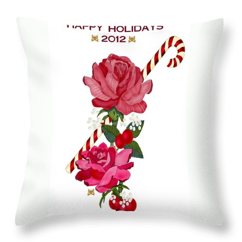 Candy Cane And Roses Throw Pillow featuring the painting Candy Cane and Roses by Anne Norskog