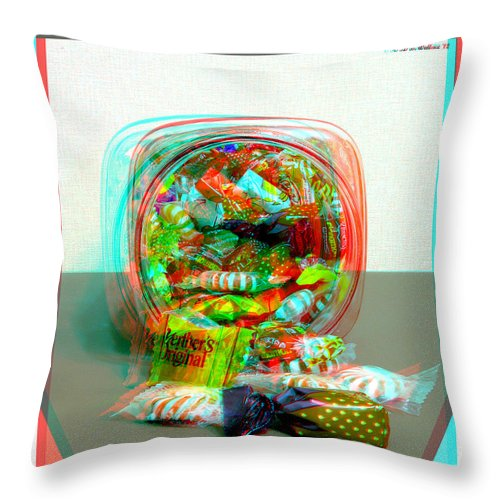 3d Throw Pillow featuring the photograph Candy Jar - Use Red-cyan Filtered 3d Glasses by Brian Wallace