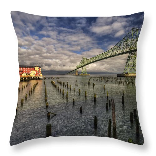 Astoria Throw Pillow featuring the photograph Cannery Pier Hotel And Astoria Bridge by Mark Kiver