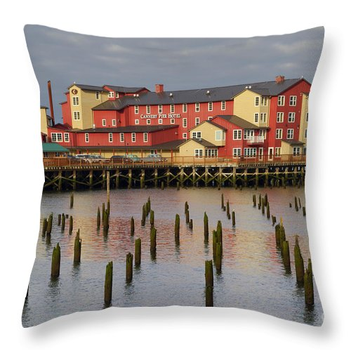 Cannery Pier Hotel Throw Pillow featuring the photograph Cannery Pier Hotel by Mark Kiver