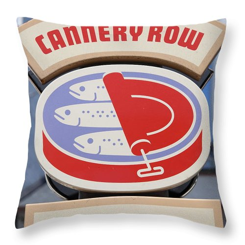 Monterey Throw Pillow featuring the photograph Cannery Row Directory At The Monterey Bay Aquarium California 5d25020 by Wingsdomain Art and Photography