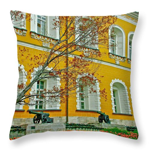 Cannon And Tulips Inside The Kremlin Wall In Moscow Throw Pillow featuring the photograph Cannon And Tulips Inside Kremlin In Moscow-russia by Ruth Hager