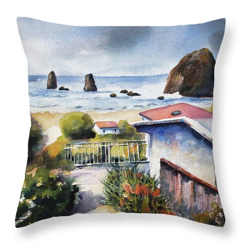 Cannon Beach Throw Pillow featuring the painting Cannon Beach Cottage by Marti Green