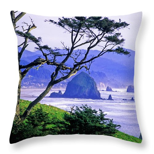 Ecola State Park Throw Pillow featuring the photograph Cannon Beach by Randy Beacham