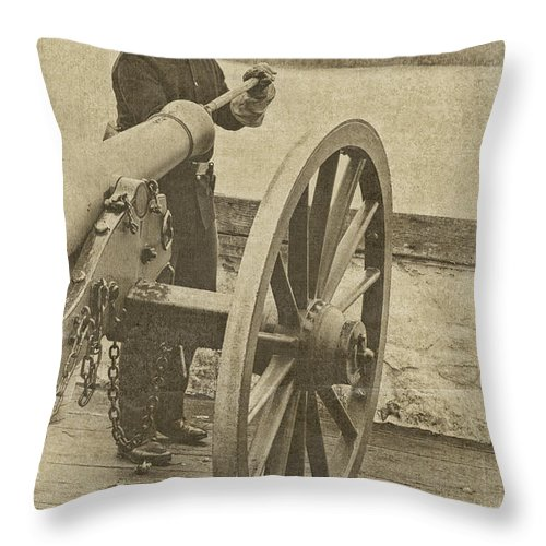Cannon Throw Pillow featuring the photograph Cannon Fire by Peg Runyan