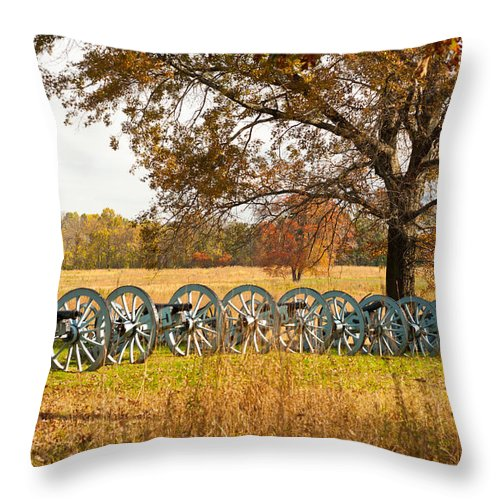 Philadelphia Throw Pillow featuring the photograph Cannons by Gaetano Chieffo