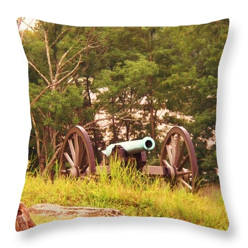 Cannon Throw Pillow featuring the painting Cannon On Culps Hill by Eric Schiabor