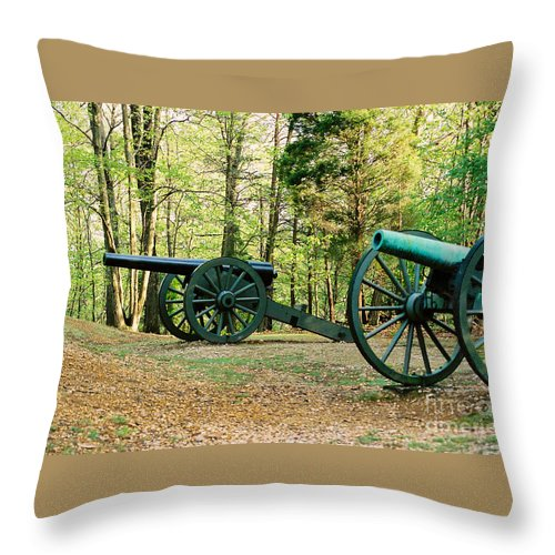 Civil War Throw Pillow featuring the photograph Cannons I by Anita Lewis