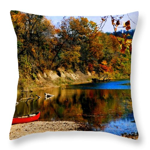 Autumn Throw Pillow featuring the photograph Canoe On The Gasconade River by Steve Karol