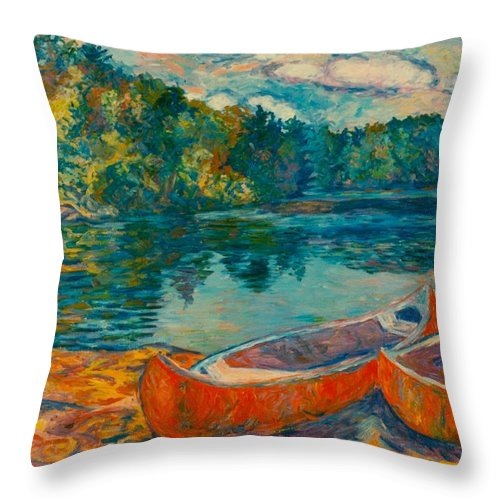 Landscape Throw Pillow featuring the painting Canoes At Mountain Lake by Kendall Kessler