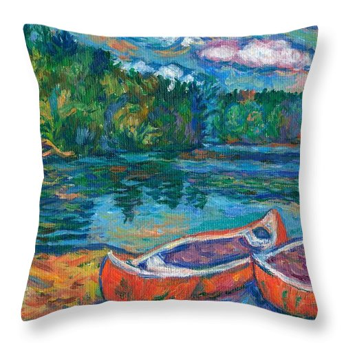 Landscape Throw Pillow featuring the painting Canoes At Mountain Lake Sketch by Kendall Kessler