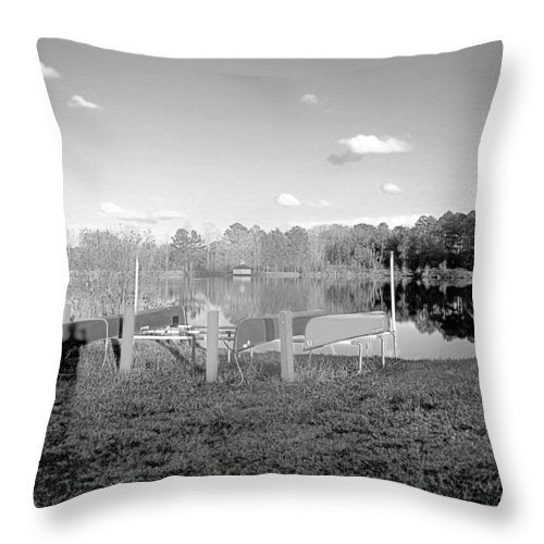 Recreation Throw Pillow featuring the photograph Canoes On The Shore by James Potts