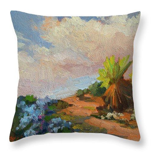 Canterbury Bells Throw Pillow featuring the painting Canterbury Bells Joshua Tree by Diane McClary