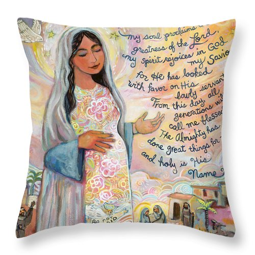 Jen Norton Throw Pillow featuring the painting Canticle Of Mary by Jen Norton