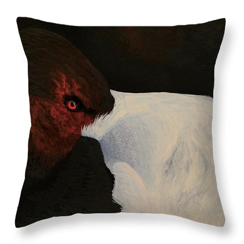 Bird Throw Pillow featuring the painting Canvasback by Charles Owens