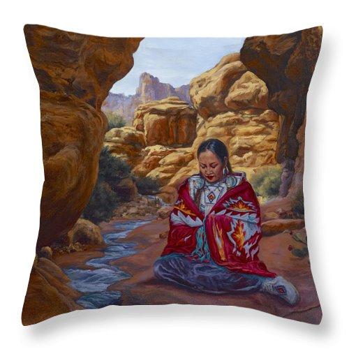 Stream Throw Pillow featuring the painting Canyon Cathedral by Christine Lytwynczuk