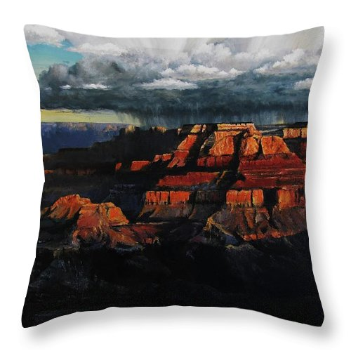 Grand Canyon Throw Pillow featuring the painting Canyon Colors by David Mittner