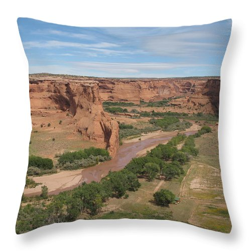 Canyon Throw Pillow featuring the photograph Canyon De Chelly Overview by Christiane Schulze Art And Photography