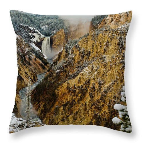 Yellowstone Throw Pillow featuring the photograph Canyon by Steve Stuller