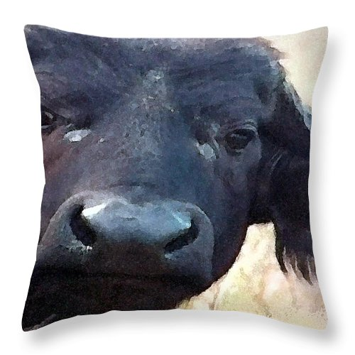 Cape Buffalo Throw Pillow featuring the painting Cape Buffalo Up Close And Personal by George Pedro