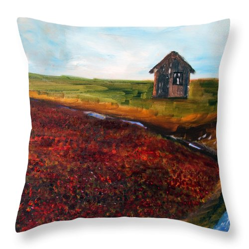 Nature Throw Pillow featuring the painting Cape Cod Cranberry Bog by Michael Helfen