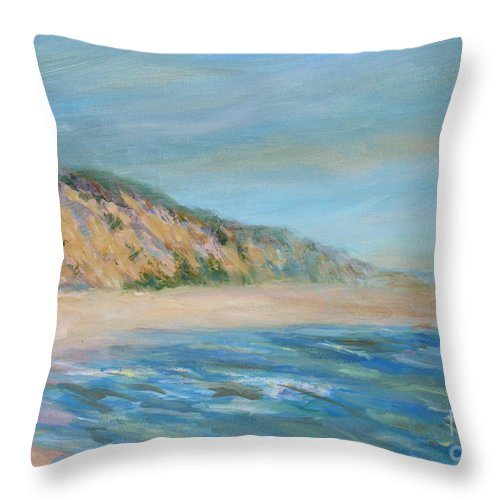 Cape Cod Throw Pillow featuring the painting Cape Cod National Seashore by Pamela Parsons