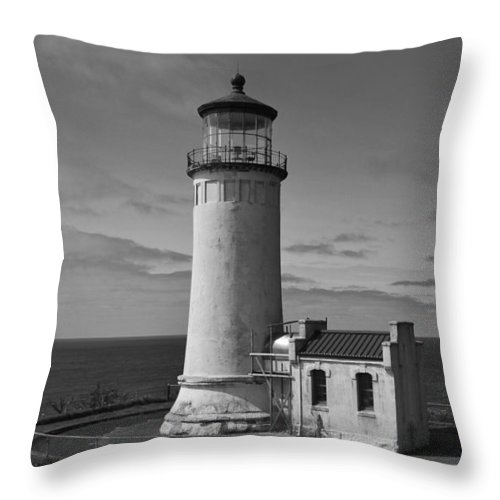 Oregon Coast Throw Pillow featuring the photograph Cape Disappointment Oregon B/w by Marie Fleming