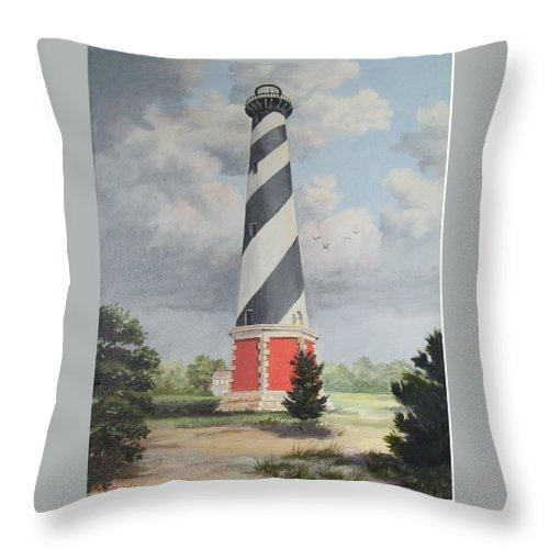 Sunrise Clouds Throw Pillow featuring the painting Cape Hatteris Sunrise by Wanda Dansereau