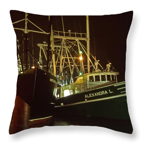 Maritime Throw Pillow featuring the photograph Cape May Fishing Fleet by Skip Willits
