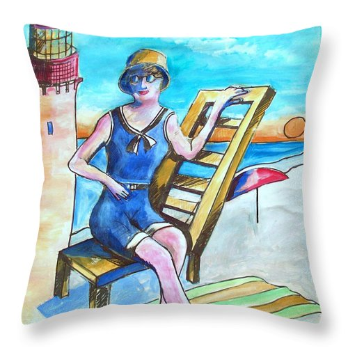 Cape May Throw Pillow featuring the painting Cape May Illustration Poster by Eric Schiabor