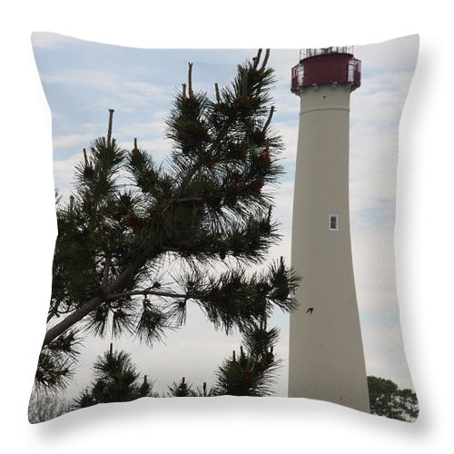 Lighthouse Throw Pillow featuring the photograph Cape May Lighthouse by Christiane Schulze Art And Photography