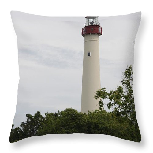 Lighthouse Throw Pillow featuring the photograph Cape May Lighthouse II by Christiane Schulze Art And Photography