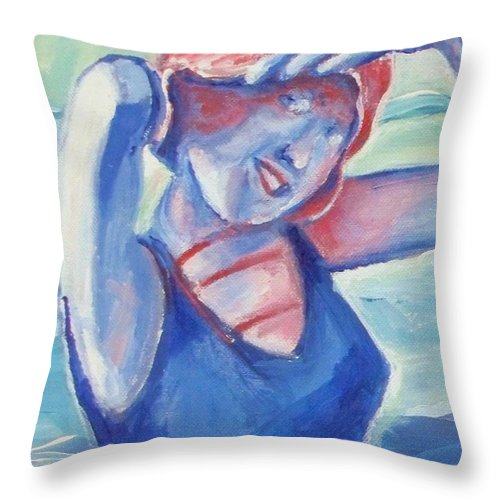 1920s Throw Pillow featuring the painting Cape May1920s Bathing Beauty by Eric Schiabor