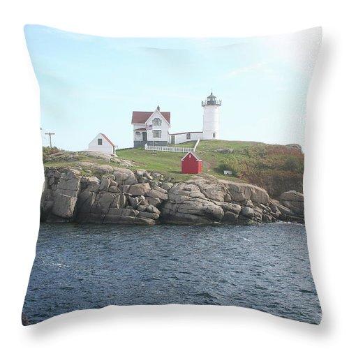 Cape Neddick Light Throw Pillow featuring the photograph Cape Neddick Light On A Misty Morning by Christiane Schulze Art And Photography