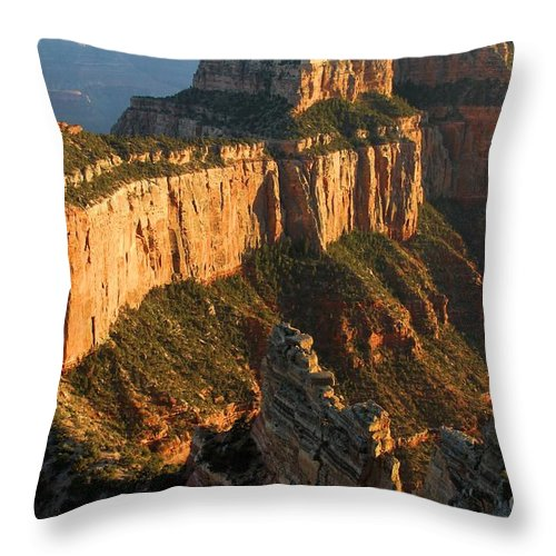 Grand Canyon Throw Pillow featuring the photograph Cape Royal Towers by Adam Jewell