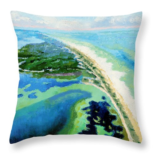Landscape Throw Pillow featuring the painting Cape San Blas Florida by John Lautermilch