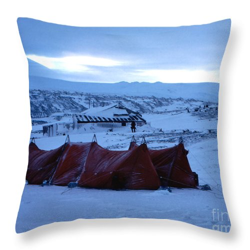 Cape Evans Throw Pillow featuring the photograph Capeevanshut-antarctica-g.punt-9 by Gordon Punt