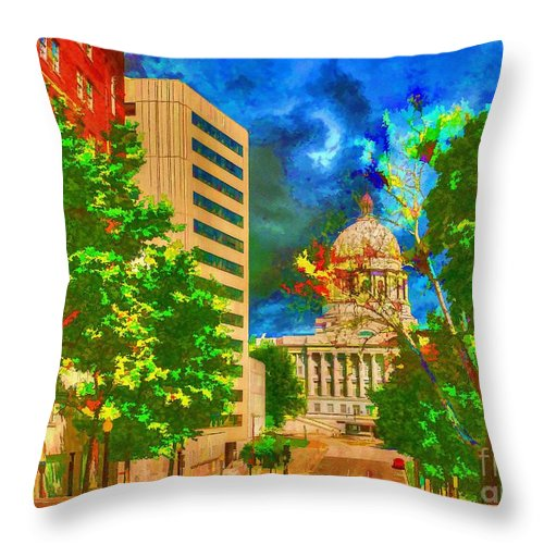 Capital Jefferson City Missouri Painting Throw Pillow featuring the painting Capital - Jefferson City Missouri - Painting by Liane Wright
