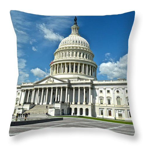 Us Throw Pillow featuring the photograph Capitol Building by Frozen in Time Fine Art Photography