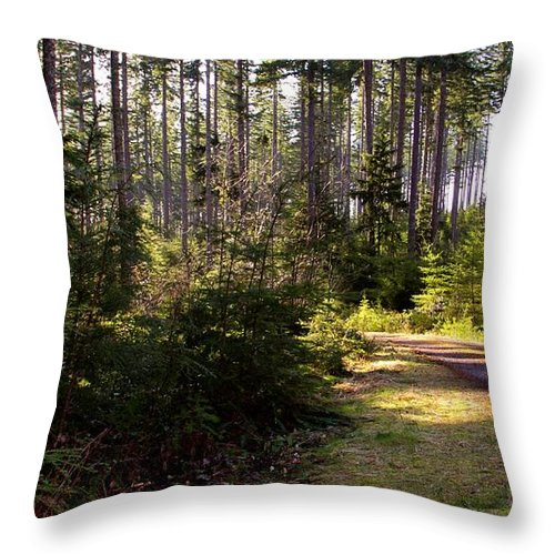 Capitol Forest Throw Pillow featuring the photograph Capitol Forest Logging Road by Jeanette C Landstrom