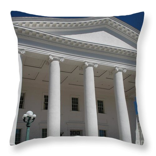 Capitol Throw Pillow featuring the photograph Capitol Pillars - Richmond by Christiane Schulze Art And Photography